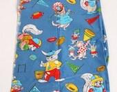 Vintage Cotton Fabric Animals Childrens Sports Blue Kids 1960's