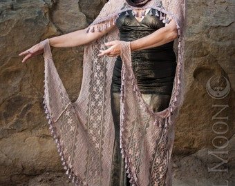 """LAST ONE: The """"Art Deco"""" Hooded Lace Cape with Tassel Trim in Dusty Rose by Opal Moon Designs (One Size)"""
