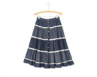 Prairie Folk Skirt * Full Midi Skirt * Tiered Ruffle Skirt * Indigo Denim Skirt * Small