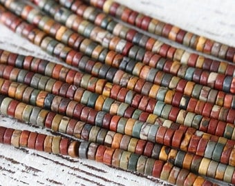 4mm Gemstone Heishi Beads -4mm Picasso Jasper Wheels - Jewelry Making Supply - Disk (Choose Size and Amount)