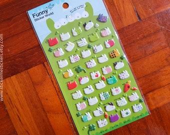 PUFFY Rabbit stickers, Bunny stickers, Pet stickers, Animal stickers, Rabbit sticker, Funny Sticker World