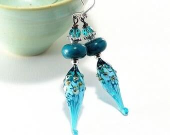 Teal Lampwork Glass Bead Earrings. Long Dangle Earrings. Boho Gypsy Earrings. Artisan Glass Headpins. Lampwork Jewelry.