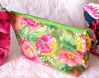 Floral Zipper Cases, Charger Case, Catch All Storage Pouch,  Makeup Travel Bag, Jewelry Storage Pouch,  Mother's Day Gift, Graduation Gift