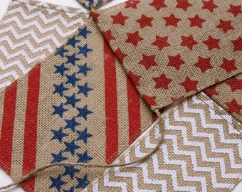 Burlap Banner, Fourth of July, Memorial Day, Red, White, Blue, Natural, Shabby Chic, Stars, Stripes, Cheveron, Garland, Decoration, Bunting.