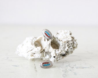 turquoise + coral stud earrings