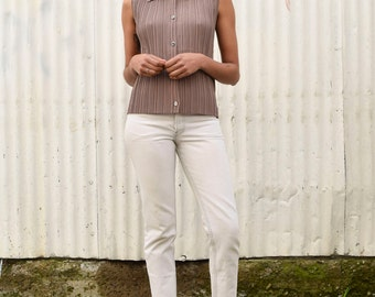 Vintage Accordion Pleats 1990's Sandstone Tan Button Up Sleeveless Shell Tank Top S/M