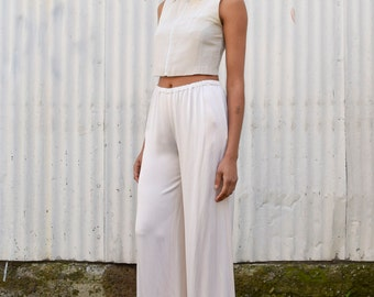 Vintage Satin Silk 1990's Ivory White Wide Leg High Waisted Pajama Look Trousers Dress Pants S/M 28