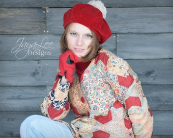 Red Beret Hat Corduroy Fabric