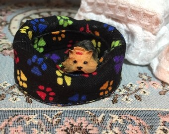 Miniature Dog Bed, Fabric Dog Bed, Black With Multi Colored Paws, Dollhouse Miniature, 1:12 Scale, Mini Bed, Paw Print Fabric Pattern