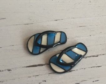 Miniature Flip Flops, Blue and White Stripe Flip Flop Shoes, Dollhouse Miniature, 1:12 Scale, Dollhouse Accessories, Decor, Mini Shoes