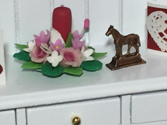 Miniature Horse Statue, Mini Horse Figurine, Dollhouse Miniature, 1:12 Scale, Dollhouse Decor Accessory, Brown Deer Miniature Figurine
