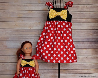 Dolly and Me minnie mouse disney inspired dress, size 1-12, girls flutter dress