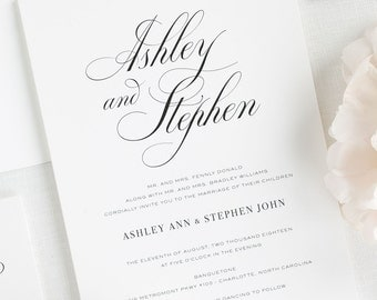 Timeless Calligraphy Wedding Invitations - Sample