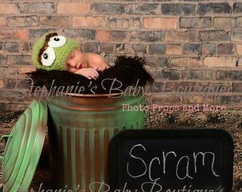 Crochet Oscar the Grouch Beanie and Slimey the Worm Set, Custom Newborn, 0-3, 3-6 Months Green Boy or Girl Hat, Photo Prop, Shower Gift