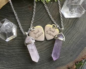 Soul Sisters Crystal Necklaces, your choice of gemstone pendant