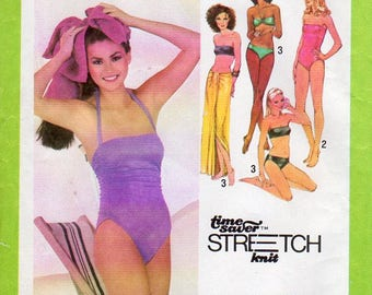 1970s Ruched Bathing Suit or Bandeau Bikini - Vintage Pattern Simplicity 9002 - Size 12 14 16 Bust 34 36 38