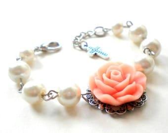 First Communion Gift Baptism Bracelet Flower Girl Bracelet Peach Bracelet Newborn Bracelet Baby First Pearls Flower Girl Wedding Jewelry