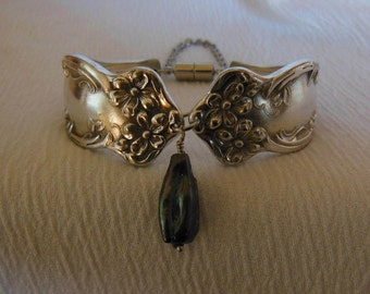 Violets and Shell  Antique Spoon Bracelet     8 inch
