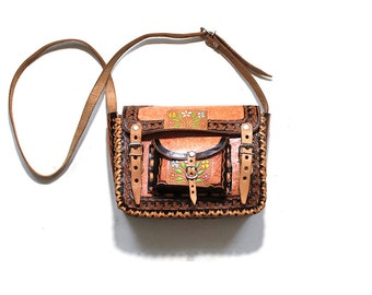 Vintage Tooled Leather Purse / Tooled Leather Bag / Brown Leather Satchel / Painted Leather Bag