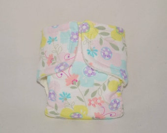 Baby Doll Diaper - Pastel Flowers - Size Large