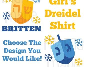 Girl's Hanukkah Shirt or Bodysuit Girl's Hanukkah Dreidel Shirt or Bodysuit Girls Personalized Hanukkah Shirt,Girl's Chanukkah Shirt,Dreidel