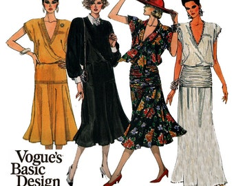 Vogue Basic Design 1583 Womens Blouson Draped Hip Dress or Maxi 80s Vintage Sewing Pattern Size 6 8 Bust 30 1/2 31 1/2 inches