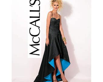McCall's 6701 High Low Hem Prom Gown Pattern Boned Bodice Strapless Ballgown Bridal Formal Sizes 14 16 18 20 22 UNCUT Factory Folds