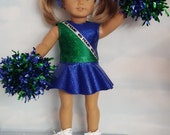 18 inch doll clothes -  Blue and Green Cheerleader Outfit  Handmade to fit the American girl doll