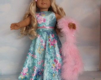 18 inch doll clothes - #220 Aqua Velvet Gown handmade to fit the American Girl Doll  - FREE SHIPPING