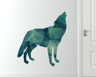 Wolf Wall Decal - Geometric Wolf Decal - Modern Wolf Wall Decal - Reusable Wolf Fabric Decal - Polygon Wolf Decal - Wolf Wall Decals