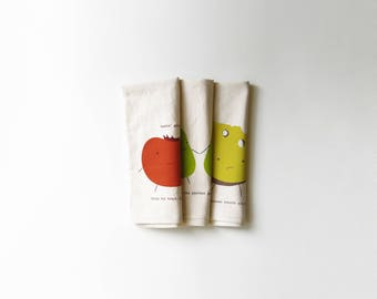 Snack Time Bundle Pack Kitchen Tea Towels | Punny | Set of three | Screen Printed | Absorbent Cloth Dish Rag | Natural Cotton | Housewarming
