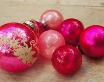 Vintage 60s Pink Mercury glass Ball Christmas Ornaments Retro Mid Century Shabby Chic