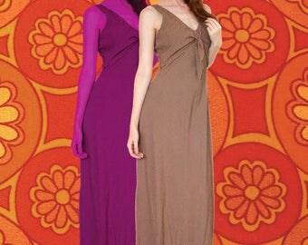 1970s Brown Plaid Checkered Harlow Sleeveless Maxi Dress Size 12