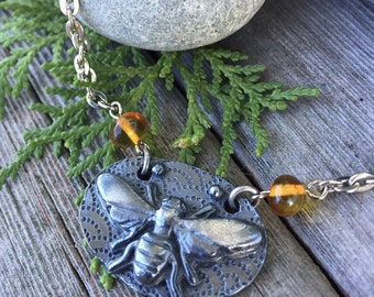 Bee My Honey Amber Necklace . Artisan Fine Silver and Baltic Amber Pendant