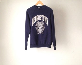 90s final four GEORGETOWN university college basketball navy blue SWEATSHIRT