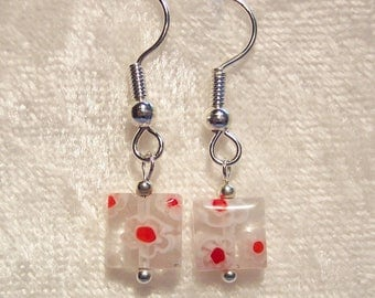 Red Earrings, Millefiori Glass Beads, White and Red Earrings, Glass Drop Earrings, Clip on Available, Delicate Earrings, Flowers