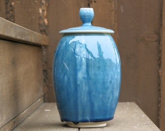 Aqua Blue Lidded Jar Home Decor Storage Container in Crackly Glaze For the Home Gift Idea, Handmade Artisan Pottery by Licia Lucas Pfadt