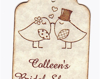 100 Love Birds Kissing Bridal Shower Favor Tags, Personalized Love Bird Wedding Shower Favor Gift Tags