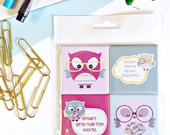 Smart Girl Owl Magnets - Set of Four 2-Inch Magnets - Girl Power - Owls - Positive