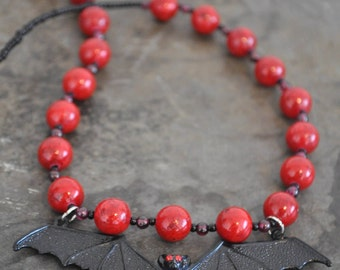 Red Coral Bat Necklace