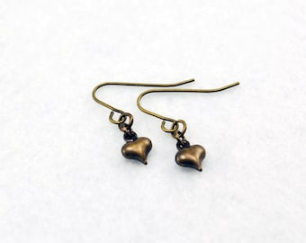 Tiny Heart Earrings in Antique Brass - Heart Jewelry, Love Earrings, Valentine's Day, Galentine's Day Gift