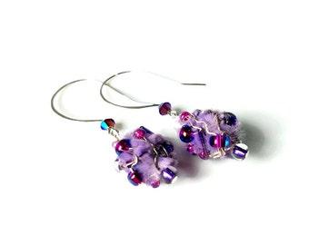 Purple Drop Earrings, Lavender Dangle Earrings,  Bead Dangle Earrings,  Fiber Art, Art Jewelry, Artsy Gifts