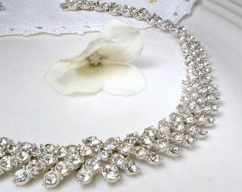 Vintage Art Deco Pave Rhinestone Necklace, Designer ORA Chevron Silver Link Bridal Statement Necklace, Old Hollywood Glamour Wedding Jewelry