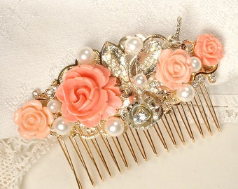 OOAK Ivory Pearl & Coral Gold Hair Comb, Vintage Wedding Peach Rhinestone Flower Bridal Hairpiece, Rustic Chic Country Autumn Headpiece Clip