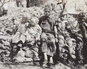 Boys in the Shadows-Five Boys in a Row-1940s-Black and White Snapshot-Outdoor Photograph-Antique-Vintage Photo