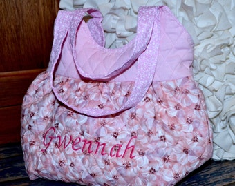 Little Girls Purse ~ Quilted and Lined ~ Personalization Option ~ Girly and Sweet ~ Pink Floral