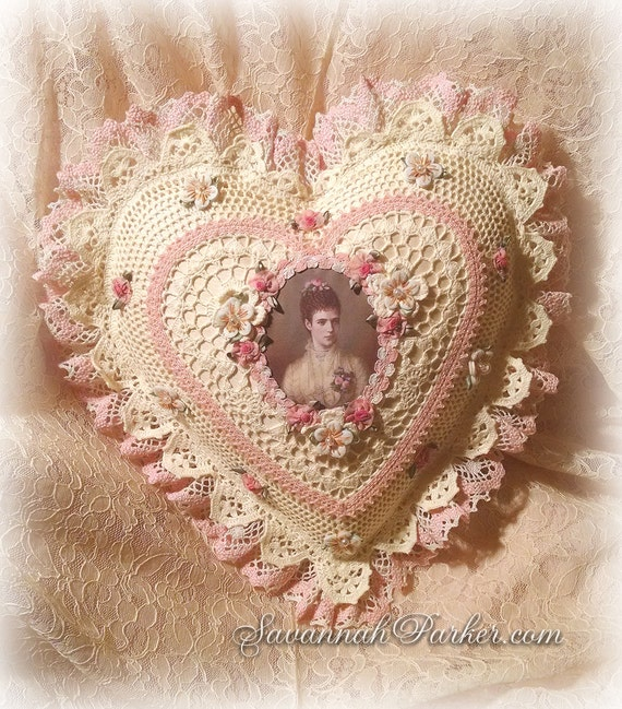 Antique Style Exquisite Romantic Cottage Shabby Chic Pillow - Palest Yellow/Pink Crocheted Heart Shape - Antique Laces - Ribbonwork Flowers