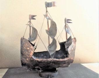 Vintage Brutalist Three Mast Sailboat Metal Sculpture