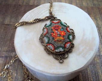 Vintage Micro Mosaic Necklace Goldtone Filigree