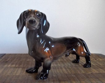 Vintage Large Germany Porcelain Brown Ceramic Dachshund Figurine